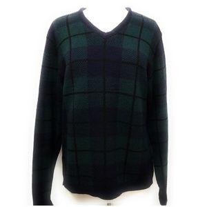 RALPH LAUREN 100% Wool Tartan Plaid V Neck Sweater